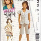 McCall's Sewing Pattern 213 5376 Girls Size 12-16 Easy Jacket Top Shorts Capri Cropped Pants