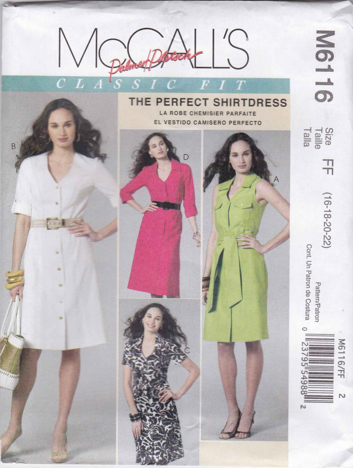 McCall's Sewing Pattern 6116 M6116 Misses Size 16-22 Classic Shirtdress Front Button Collar Options