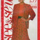 Butterick Sewing Pattern 6523 Misses Size 6-14 Easy Loose-fitting Unlined Jacket Top Flared Skirt