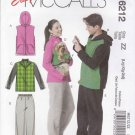McCall's Sewing Pattern 6212 Unisex Mens Misses Dog Size S-M Easy Knit Vest Jacket Pants Dog Coat