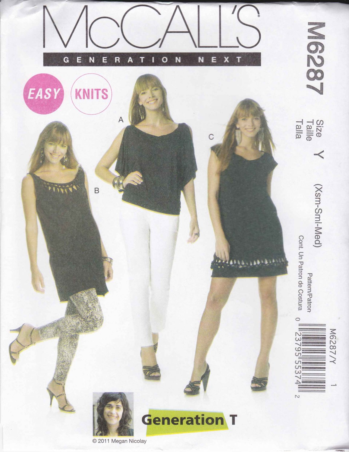 McCall's Sewing Pattern 6287 M6287 Misses Size 16-22 Easy Knit Pullover Top Tunic Dress