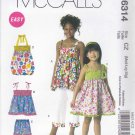 McCall's Sewing Pattern 6314 Girls Size 3-6 Easy Summer Sundress Suntop Shorts Pants