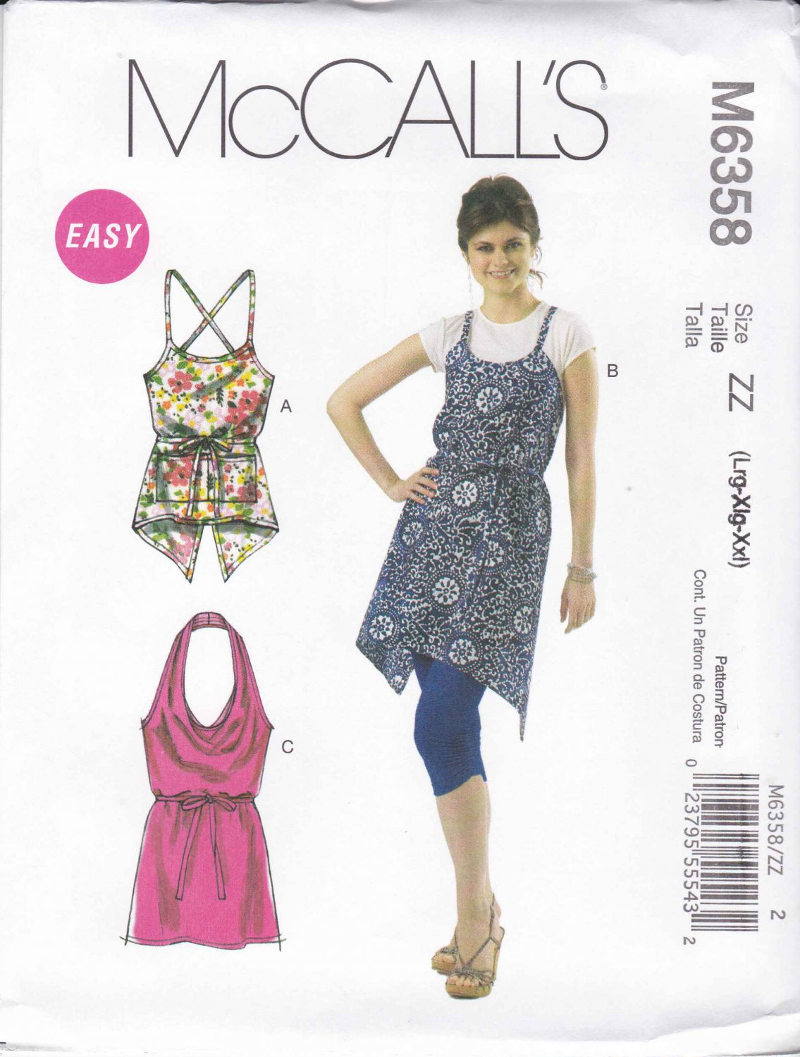 McCall's Sewing Pattern 6358 Misses Size 4-14 Easy Summer Apron Jumper Style Tops