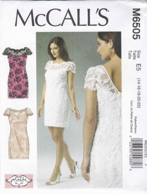 Mccall 39 s sewing pattern 6505 misses size 6 14 formal lined for Lace wedding dress patterns to sew