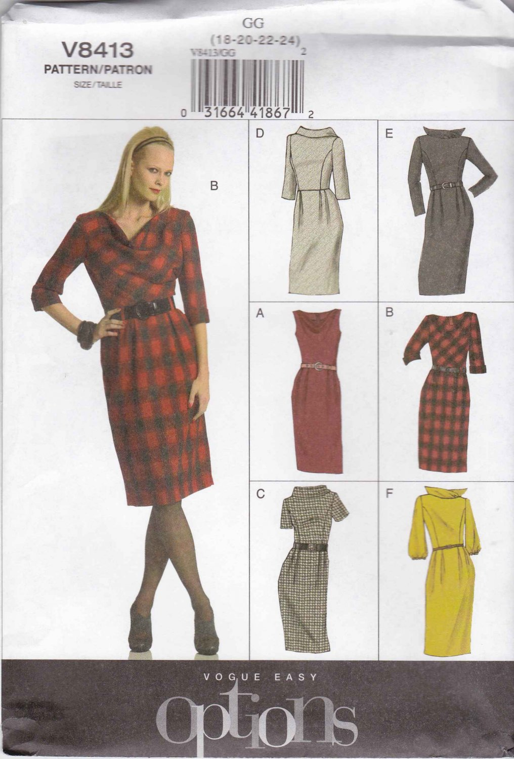 Vogue Sewing Pattern 8413 Misses Size 18-24 Classic Straight Dress Neckline Sleeve Bodice Options