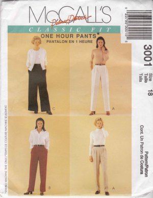 McCall's Sewing Pattern 3001 Misses Size 18 Palmer/Pletsch Classic Fit One Hour Pants