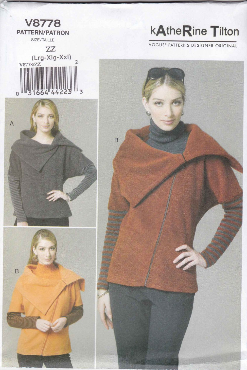 Vogue Sewing Pattern 8778 Misses Size 16-26 Easy Loose-fitting Pullover Top Jacket