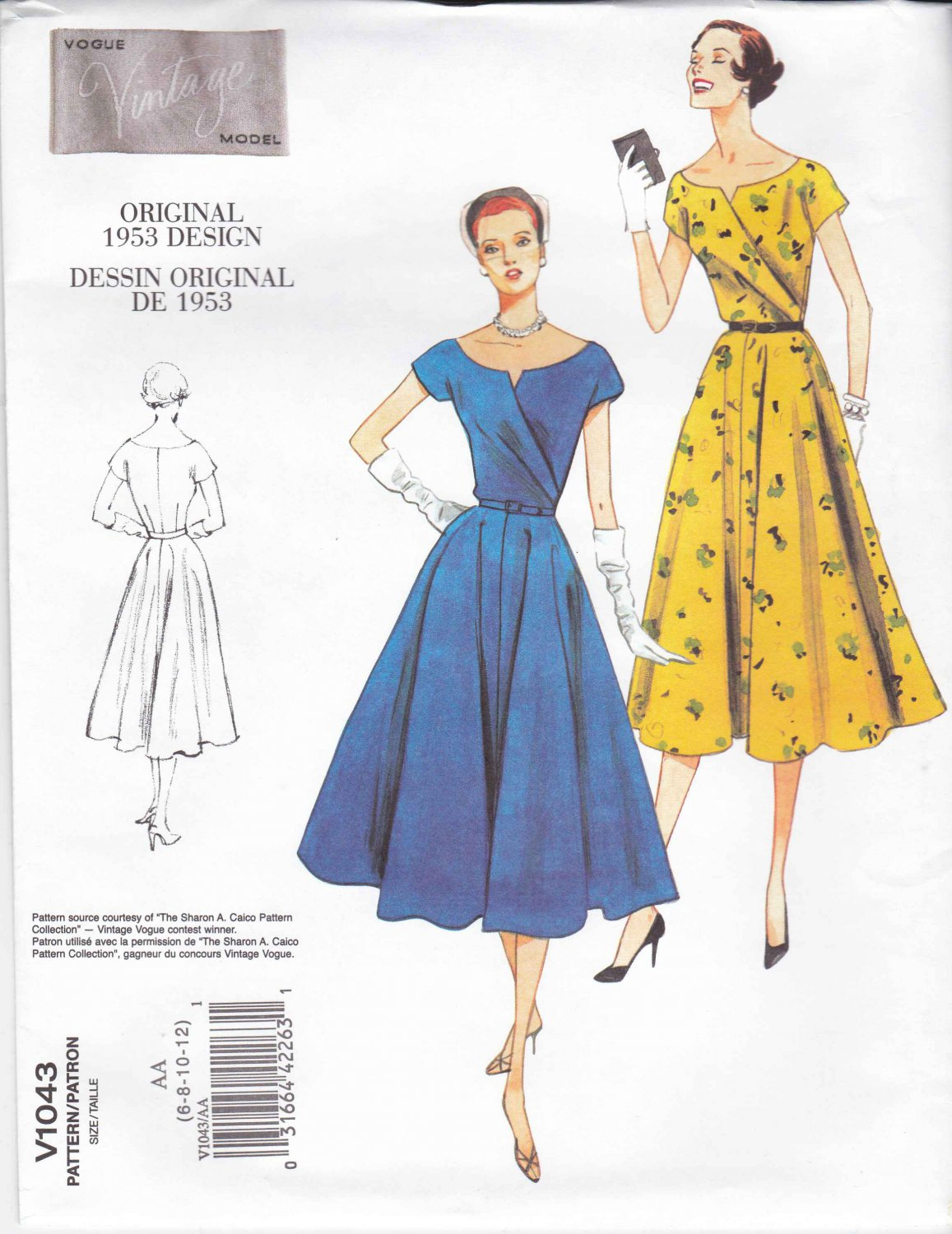 Vogue Sewing Pattern 1043 Misses Size 6-12 Vintage 1953 Style Full Skirted Dress
