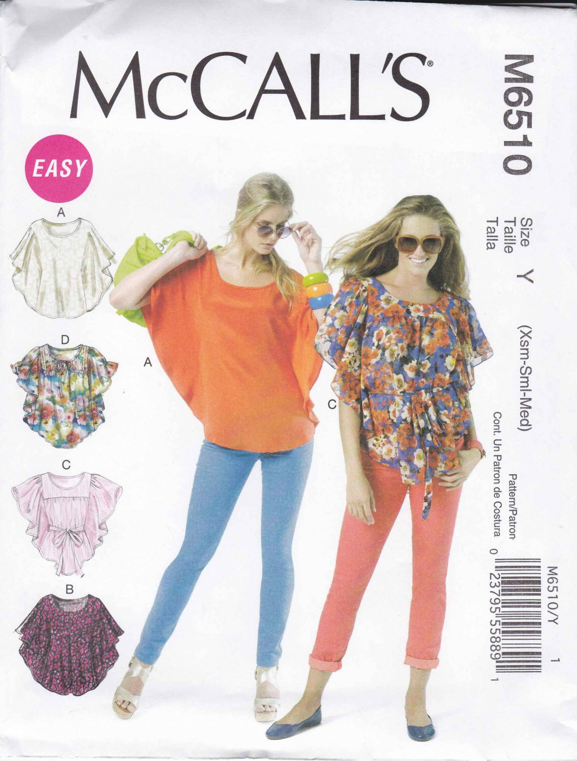 McCall's Sewing Pattern 6510 Misses Size 4-14 Easy Pullover Loose-Fitting Tops Belt