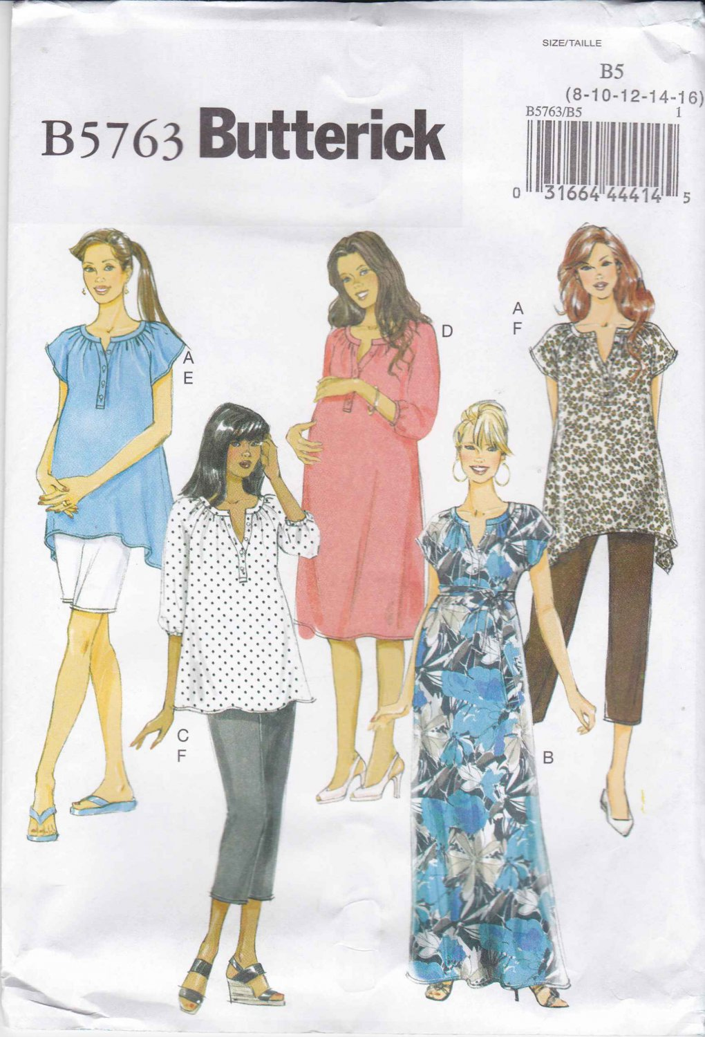 Butterick Sewing Pattern 5763 B5763 Misses Size 8-16 Easy Maternity Wardrobe Top Dress Pants