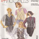 McCall's Sewing Pattern 0021 Misses Size 8-18 Easy Button Front Unlined Vests Flared Semi-fitted