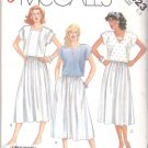 McCall's Sewing Pattern 2423 Misses Size 6-8 Easy Pullover Cap Sleeve Top Gathered Skirt