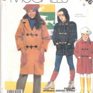 McCall's Sewing Pattern 2786 Girls Size 10 Easy Hooded Duffle Coat Jacket Toggle Closures