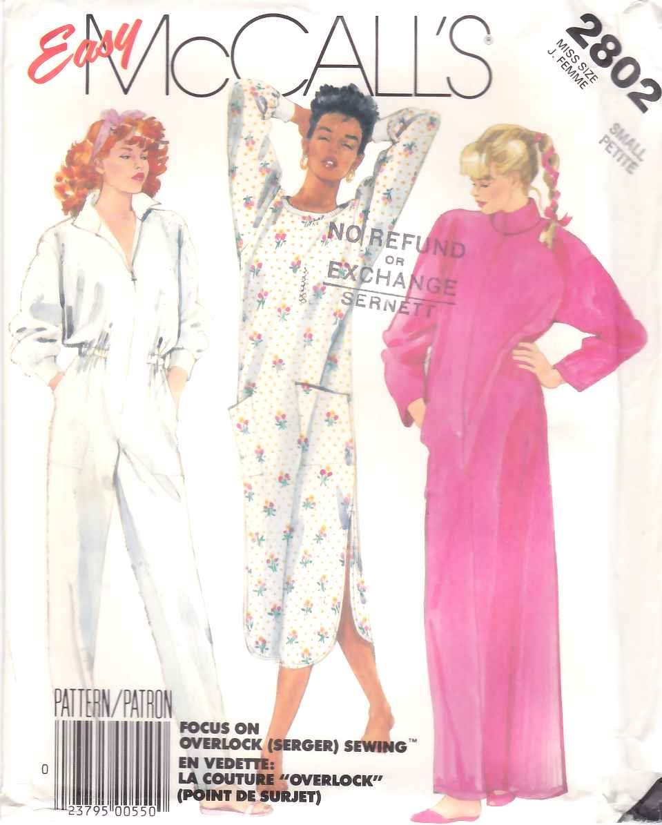 McCall's Sewing Pattern M2802 2802 Misses Size 10-12 Easy Nightgown Bath Robe Jumpsuit Pamajas