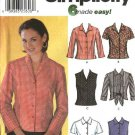 Simplicity Sewing Pattern 7086 Misses Size 6-12 Easy Button Front Waist Tie Shirts Blouse