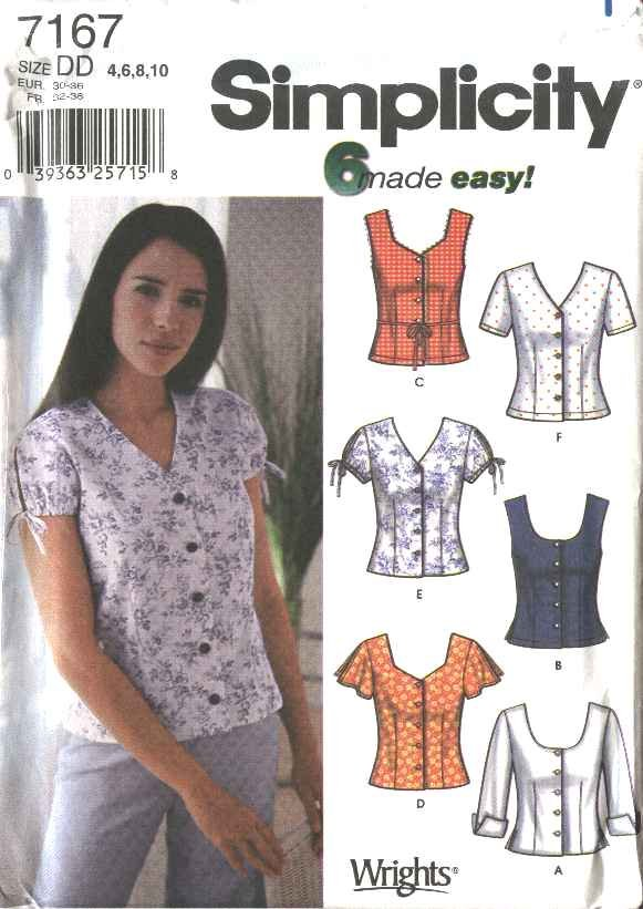 Simplicity Sewing Pattern 7167 Misses Size 12-18 Easy Button Front Summer Blouses Shirts Tops