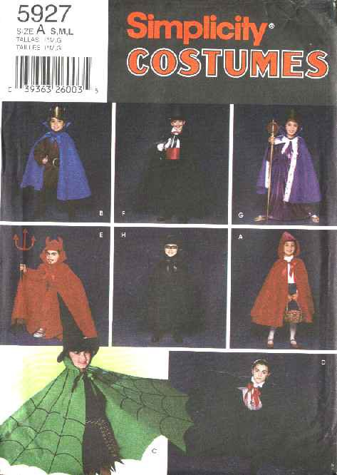 Simplicity Sewing Pattern 5927 Boys Girls Size 3-8 Vampire Red Riding Hood Batman Costumes