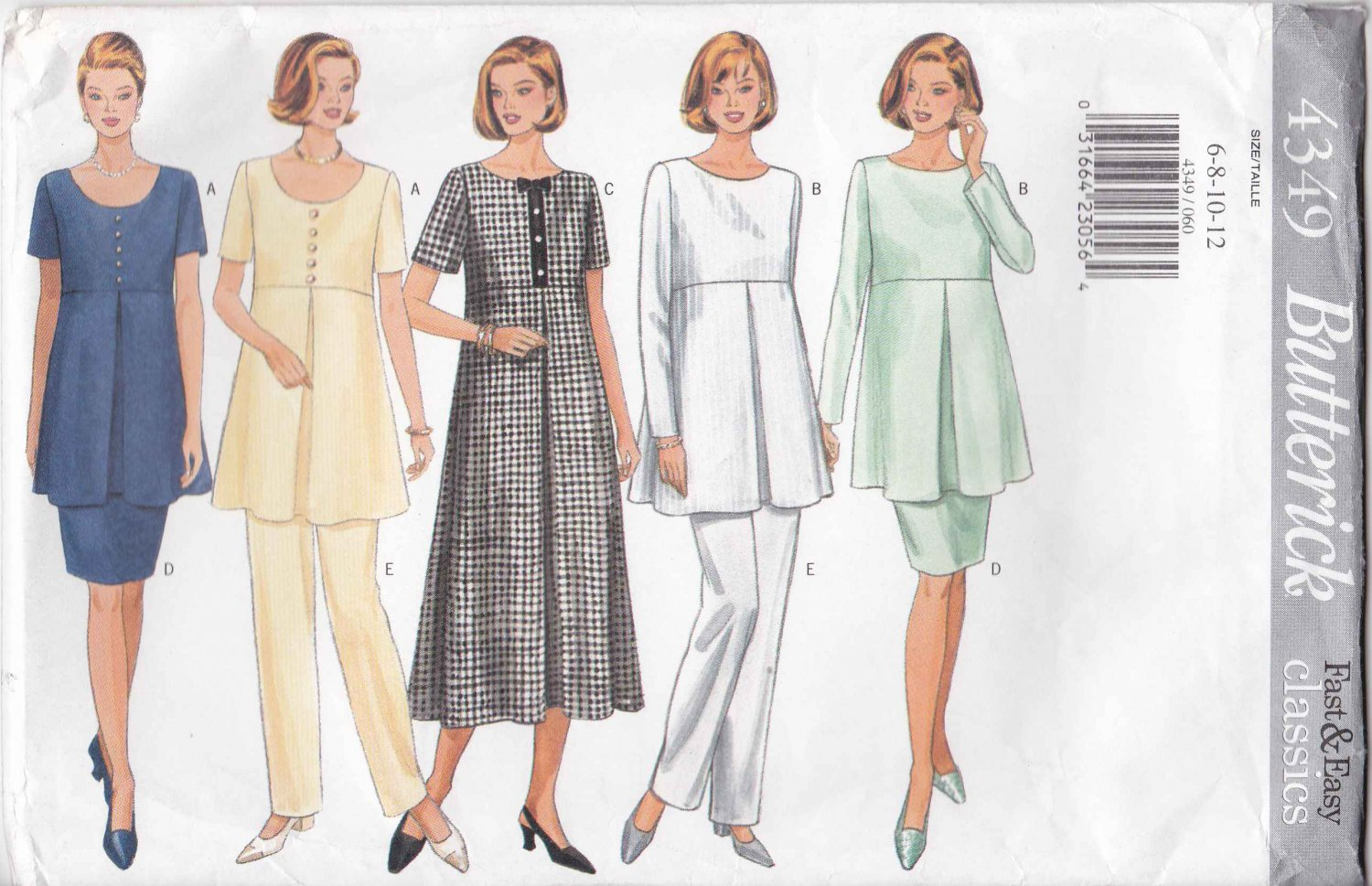 Butterick Sewing Pattern 4349 Misses Size 6-12 Easy Classic Maternity Wardrobe Dress Top Skirt Pants