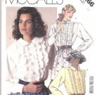 McCall's Sewing Pattern 3266 Misses Size 10 Button Ruffle Front Long Sleeve Blouse Collar Options