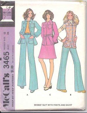 Retro McCall's Sewing Pattern 3465 Misses Size 12 Pantsuit Suit Zipper Front Jacket Pants Skirt