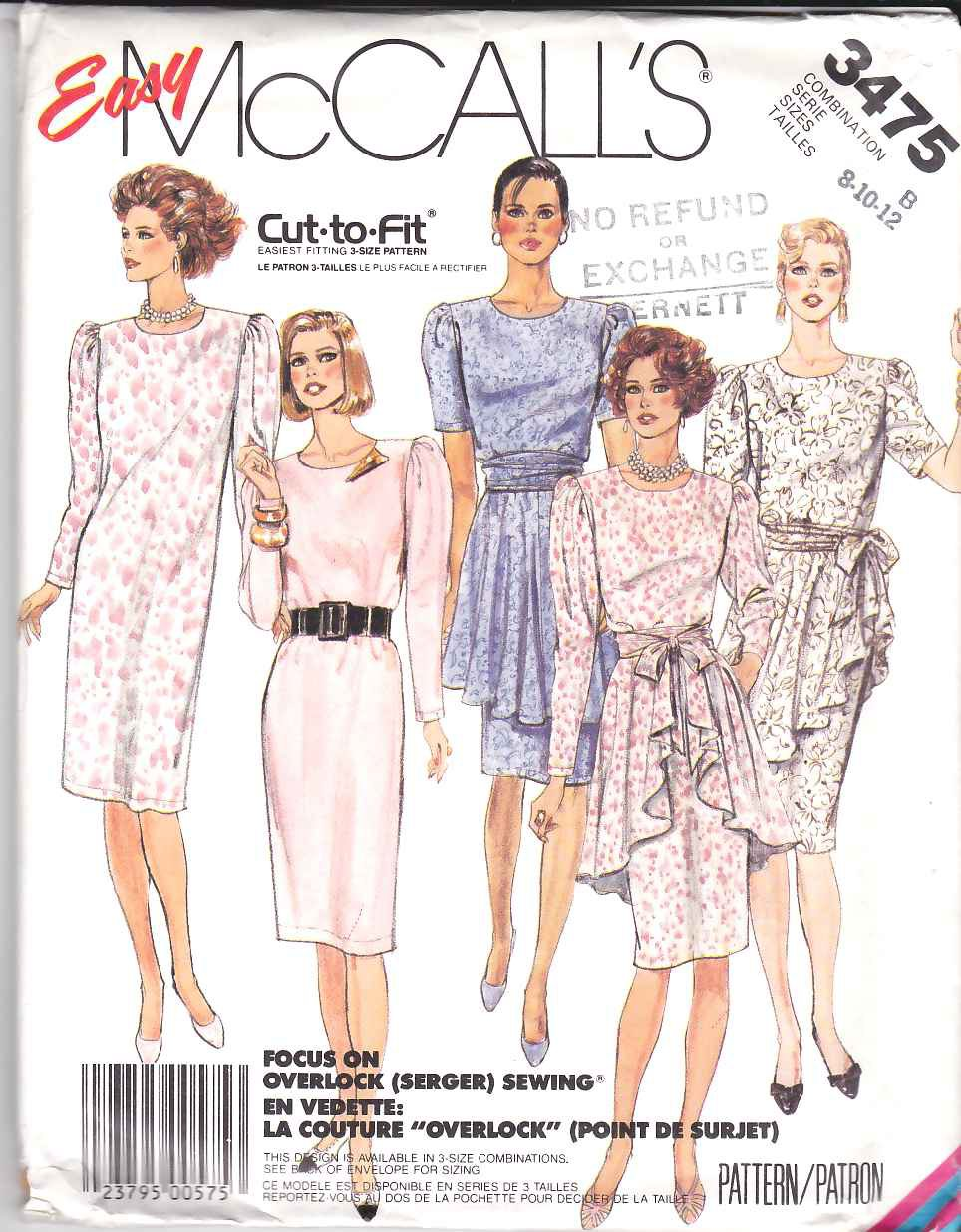 McCall's Sewing Pattern 3475 Misses Size 8-12 Easy Straight Dress Peplum Apron Sleeve Options