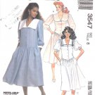 McCall's Sewing Pattern 3547 Misses Size 8 Pullover Dropped Waist Button Front Bodice Dress