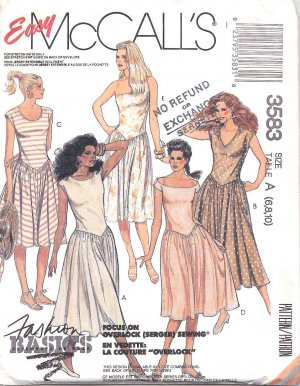 McCall's Sewing Pattern 3583 Misses Size 6-10 Easy  Classic Pullover Gathered Skirt Knit Dress