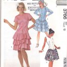 McCall's Sewing Pattern 3766 Misses Size 10 Dropped Waist Tier Skirt Dress Sleeve Options