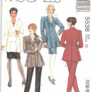 McCall's Sewing Pattern 5538 M5538 Misses Size 10 Unlined Peplum Jacket Straight Skirt Stirrup Pants