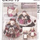 McCall's Sewing Pattern 6874 872 Bathroom Bunnies Towel Holders Tissue Cover Faye Wine