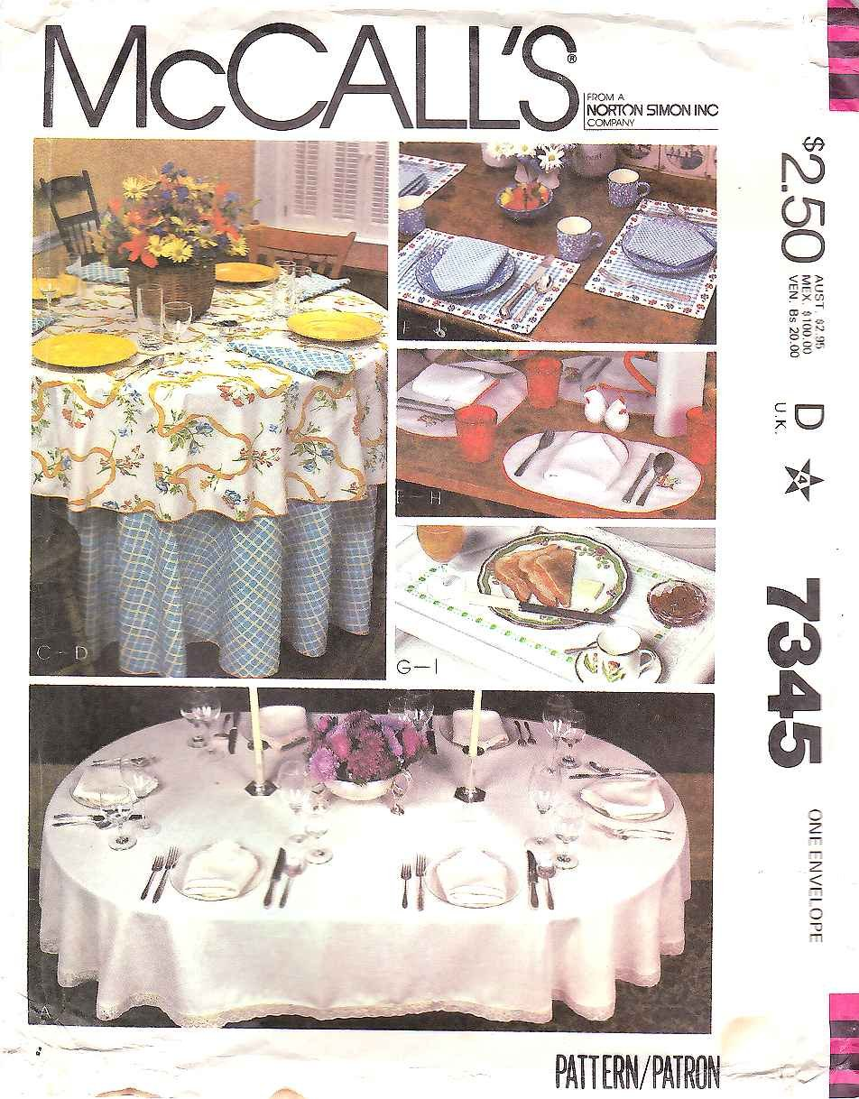 Mccall S Sewing Pattern 7345 Table Linen Placemats Round
