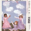 "McCall's Sewing Pattern 7352 Tall Skinny Dolls 19"" Clothes Dress Pinafore Bloomers Vest Hat"
