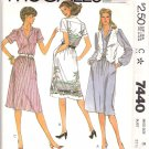 McCall's Sewing Pattern 7440 Misses Size 8 Pullover Shirtwaist Button Front Bodice Dress Vest