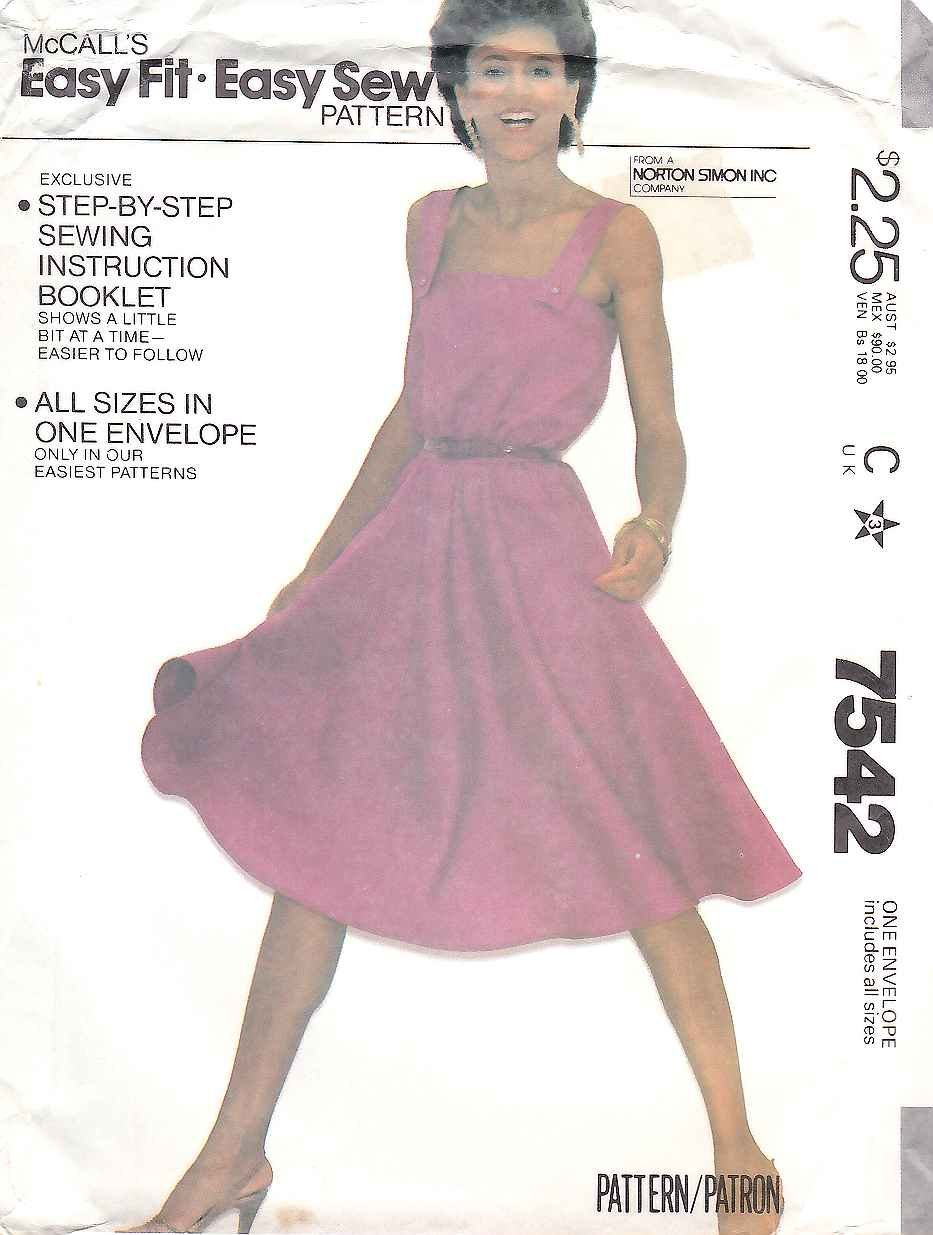 McCall's Sewing Pattern 7542 Misses Size 6-20 Easy Pullover Shoulder Strap Sundress Dress
