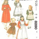 McCall's Sewing Pattern 8280 Girls' Size 6 Dress Sleeve Length Options Pinafore Lace Tucks