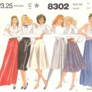 McCall's Sewing Pattern 8302 Misses Size 8 Classic Skirt Wardrobe Straight Wrap Pleated Long Short