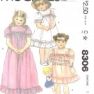 McCall's Sewing Pattern 8306 Girls' Size 3 Classic Embroidered Yoke Dress Slip