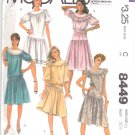 McCall's Sewing Pattern 8449 Misses Size 10 Dropped Waist Circle Yoke Dress Sleeve Options