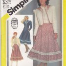 Simplicity Sewing Pattern 5491 Misses Size 8 Gunne Sax Blouse Full Skirt Unlined Quilted Jacket