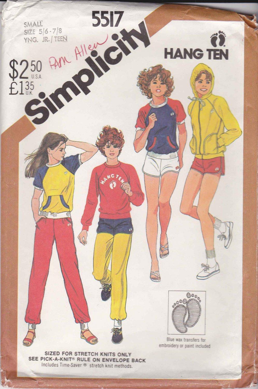 Simplicity Sewing Pattern 5517 Junior Size 5/6-7/8 Hang Ten Knit Wardrobe Pants Short Top Jacket