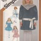 Simplicity Sewing Pattern 6227 Girls Size 4 Dropped Waist Party Dress Sleeve Skirt Collar Options