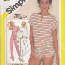 Simplicity Sewing Pattern 6384 Misses Size 8-12 Knit Pullover Top Pants Shorts
