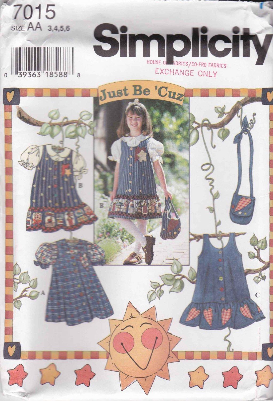 Simplicity Sewing Pattern 7015 Girls Size 3-6 Blouse Jumper Dress Purse Appliques