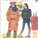 McCall's Sewing Pattern 2786 Girls Size 7 Easy Hooded Duffle Coat Jacket Toggle Closures