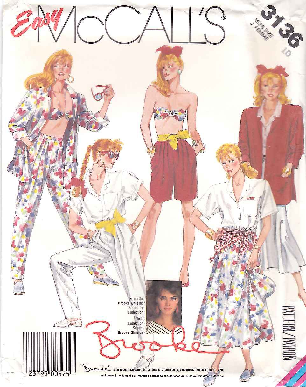 McCalls Sewing Pattern 3136 M3136 Misses Size 8 Brooke Wardrobe Jacket Shirt Bra Skirt Pants Shorts