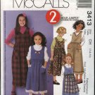 McCall's Sewing Pattern 3413 Girls Size 3-6 2 Hour Pullover Side Button Jumper Trim Options