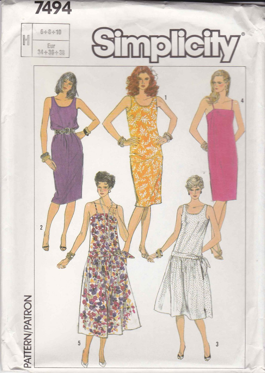 simplicity sewing pattern 7494 misses size 6