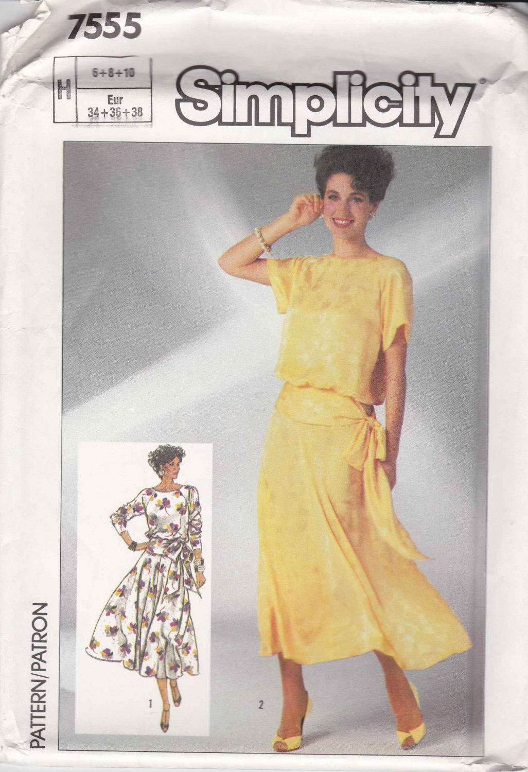 Simplicity Sewing Pattern 7555 Misses Size 6-10 Blouson Dress Short Long Sleeves Flared Skirt