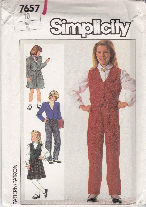 Simplicity Sewing Pattern 7657 Girls Size 10 Wardrobe Pants Skirt Lined Vest Jacket