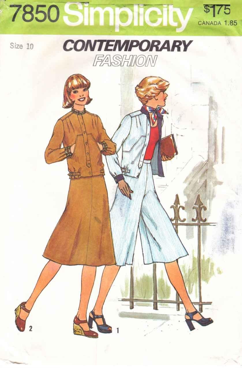 Retro Simplicity Sewing Pattern 7850 Misses Size 10 Skirt Unlined Jacket Pantskirt Culottes Gauchos